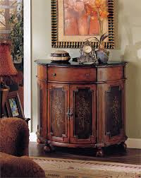 Hallway Console Cabinet Half Round Accent Chest With Cabinet Drawers And Wheels In The