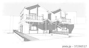外観パース パース インテリア 建物のイラスト素材 Pixta
