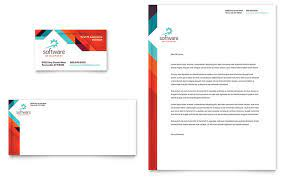 Outstanding letterheads with the company logo, business information, and outstanding images will leave a good impression for your own brand when sending. Application Software Developer Business Card Letterhead Template Design