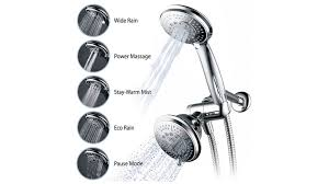 dual showerheads look odd if they are not aligned on the wall you should use the height of the taller person and install both showerheads to that