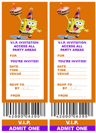 printable v i p ticket style spongebob party invitations printable v i p ticket style spongebob party invitations birthday parties themes ideasbirthday