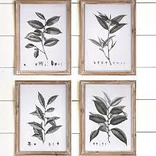 framed botanical leaf wall art set of 4 on leaf wall art set with framed botanical leaf wall art set of 4 antique farmhouse