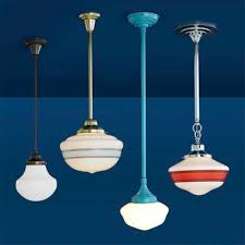 vintage looking lighting. blue dark background schoolhouse pendant lights make this four examples looking so classic vintage design lighting e