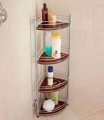 image of stylish teak corner shower caddy