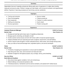 Hotel Industry Resume Format Resume Template Comments Off On The