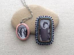 heirloom bead embroidered picture pendant