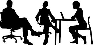 フリーイラスト 椅子に座る3人のビジネスピープルのシルエット