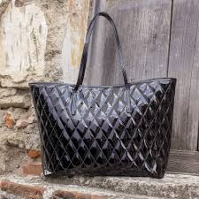 quilted black patent leather tote bag via del corso