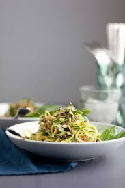 summer squash noodle salad with basil lime dressing gourmande in the kitchen