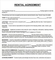 Rental Contract Template Word Rent Agreement Document Rome Fontanacountryinn Com