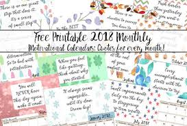 Printable Free Monthly Calendars Free Printable 2018 Monthly Motivational Calendars