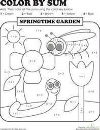 1st Grade Coloring Pages First Grade Addition Color By Numbers