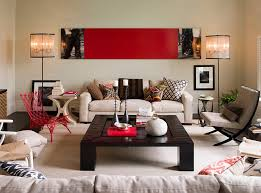 Classy red living room ideas exquisite design Apartment View In Gallery Contemporary Living Room With Smart Use Of Red Accents Design Thom Filicia Decoist Red Living Rooms Design Ideas Decorations Photos