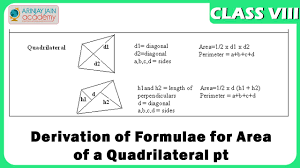 formula sheets for geometry area of a quadrilateral derivation of formulae geometry maths
