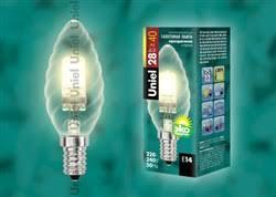<b>HCL</b>-<b>28</b>/<b>CL</b>/<b>E14</b> candle twisted <b>Uniel</b> Лампы галогенные