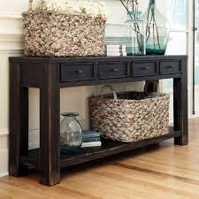 Plain Black Sofa Table With Storage Designashley Gavelston Rectangular On Concept Design