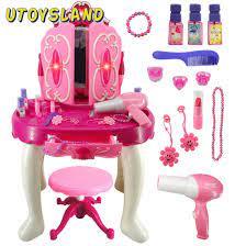 Kızlar Pretend Dresser Playset simülasyon saç kurutma makinesi makyaj  oyuncaklar ile ışık ve ses oyuncaklar oyna Pretend makyaj oyuncak çocuk  hediye|Beauty & Fashion Toys