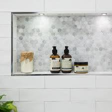 calcutta hexagon mosaic feature tile with devonshire super white gloss wall tiles from beaumont til wallpaper wp3803674
