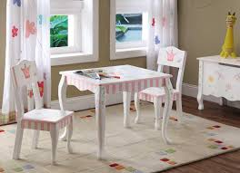 furniture kids room princess themes white painted wooden table and chairs decor with pink ornaments childrens