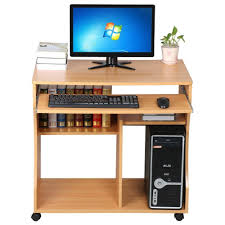 computer desktop furniture. Popamazing Space Saver MDF Computer Desk PC Table Wheels Home Office Furniture Beech, With Sliding Keyboard And Cupboard Drawers: Amazon.co.uk: Kitchen \u0026 Desktop