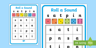 Each sheet provides activities for letter sound learning, letter formation, blending and segmenting. Roll A Sound Activity Mat Phase 2 S A T P I N