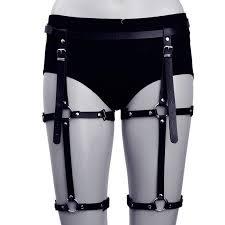 fashion women leather harness belts y garters belt punk strap band from waist leg adjustable suspender straps custom belt buckles bullet