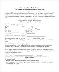 Separation Notice Employee Separation Form Template Casual Termination Notice