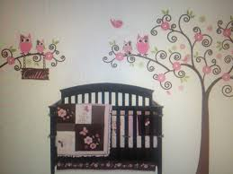 Pink Colored Wall Decal Owl Themed Baby Nursery Hanging Above Tree Leaf  Decal Oak Material Crib