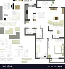 floor plan furniture vector. Flat Projection Furniture Set Vector Image Floor Plan I