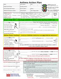Printable Asthma Action Plan Asthma Action Plan4