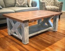 homemade coffee table plans chunky farmhouse coffee table delivered today custom finish for the base with