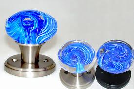 blue glass door knobs. Clear Bubble Blue \u0026 White Swirl Glass Door Knobs R