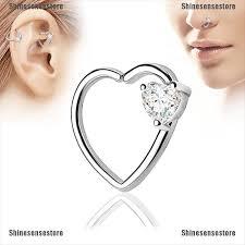 <b>SHINE Crystal</b> Heart Hoop Nose Ear Rings Helix Tragus Cartilage ...
