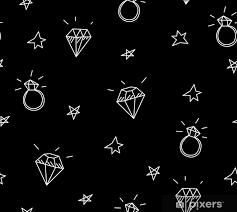 Fototapeta Vinylová Vektorové Bezešvé Vzor S Snubní Prsteny Hvězdy A Drahokamy Old School Tetování Prvky Hipster Styl