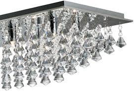 hanna large chrome rectangular 8 light flush diamond crystal light