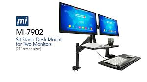mount it mi 7902 sit stand desk mount for dual monitors up to 27 inches in size color black you