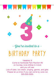 Birthday Invitation Party 3rd Birthday Party Free Birthday Invitation Template