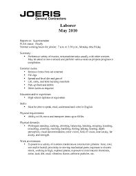 Resume Sample : General Laborer Resume Sample With Operating ...