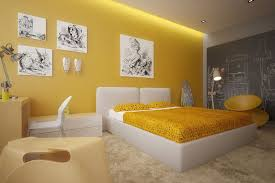 bed bedroom yellow walls