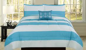 beatrice lighthouse stripe king comforter 4 piece nautical bedding set blue and white