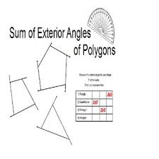 exterior angle formula for polygons. free hands-on activity has student find the sum of measures exterior angles polygons. angle formula for polygons