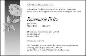 Traueranzeigen von Rosemarie Fritz | trauer.mittelhessen.de