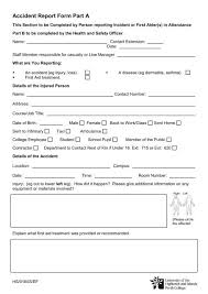 Accident Incident Report Form Perth College