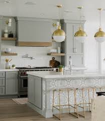 Beautiful kitchen with soft grey cabinets and gold accents. | Home ...