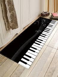 piano key pattern anti skid flannel area rug black w16 inch l47 inch
