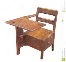 old wooden school desk isolated