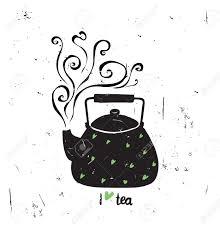 ベクトル イラスト レタリングとお茶が大好き蒸気緑のハート手書きで黒茶ポット白グランジ背景に孤