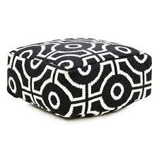 Black And White Pouf Cut Circle Pouf Black White