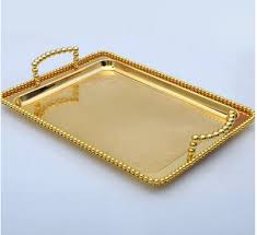 Decorative Metal Serving Trays 100cm 100cm small size Gold plated Rectangle metal food tray metal 17