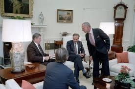 reagan oval office. President Reagan Meets With Publisher Rupert Murdoch, U.S. Information Agency Director Charles Wick, Lawyers Oval Office N